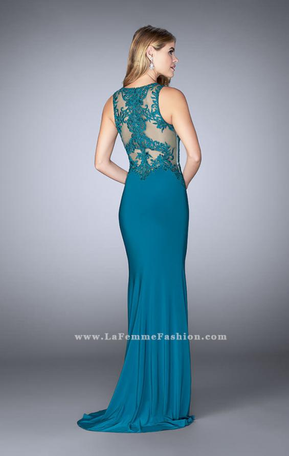 Picture of: High Neck Sheer Lace Prom Dress with Side Slit, Style: 24202, Back Picture
