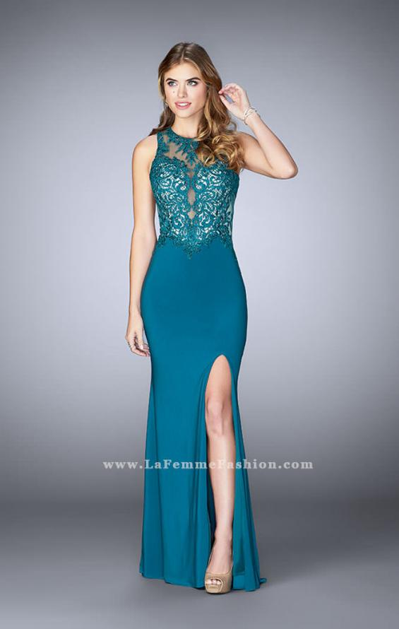 Picture of: High Neck Sheer Lace Prom Dress with Side Slit, Style: 24202, Detail Picture 1