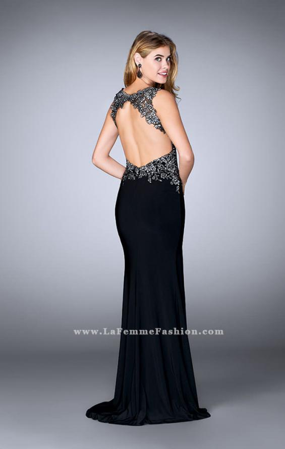 Picture of: Fitted Jersey Dress with Metallic Lace and Open Back, Style: 24206, Back Picture
