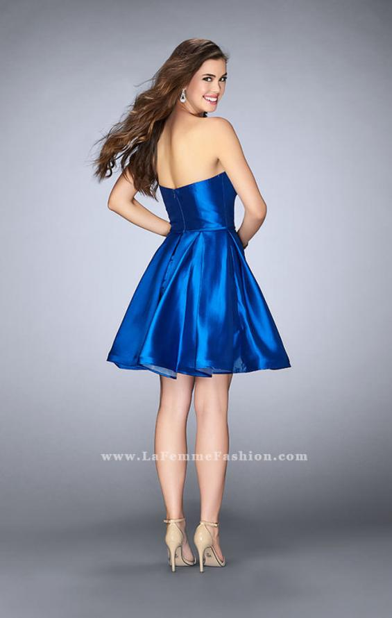 Picture of: Short Party Dress with Deep V Neckline and Pockets in Blue, Style: 24212, Back Picture