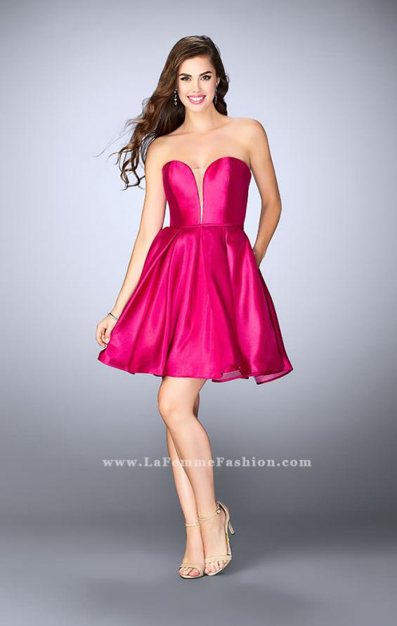 Picture of: Short Party Dress with Deep V Neckline and Pockets in Pink, Style: 24212, Detail Picture 1