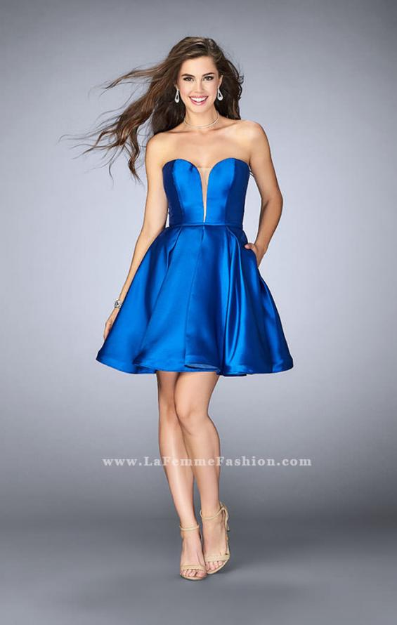 Picture of: Short Party Dress with Deep V Neckline and Pockets in Blue, Style: 24212, Detail Picture 2