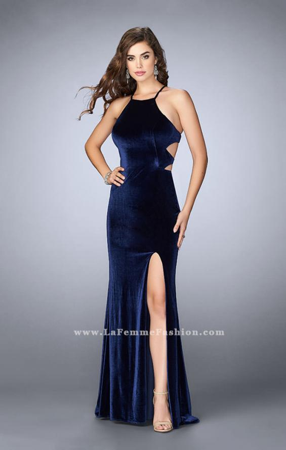 Picture of: Velvet Prom Dress with High Neck and Pockets, Style: 24218, Main Picture