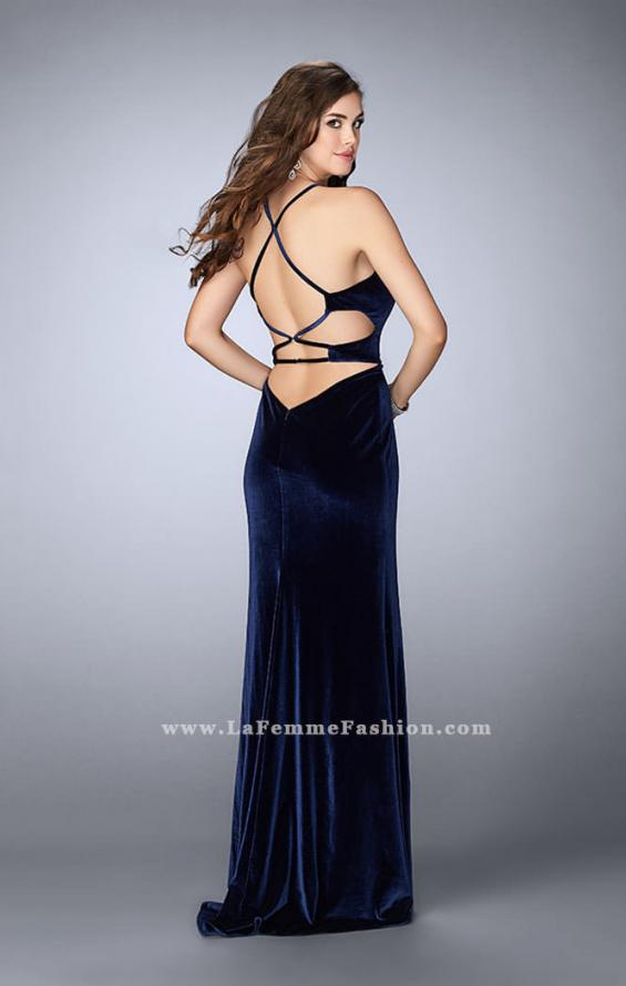 Picture of: Velvet Prom Dress with High Neck and Pockets, Style: 24218, Back Picture