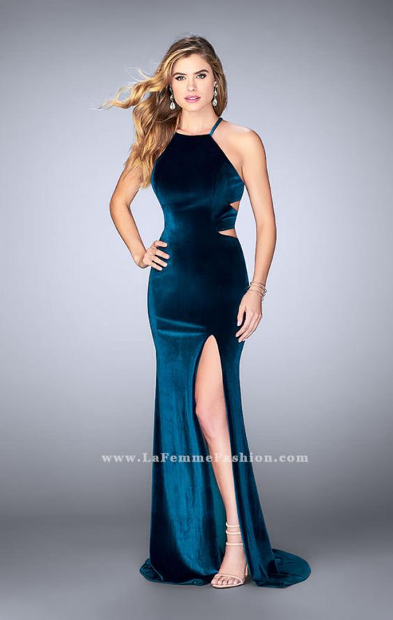 Picture of: Velvet Prom Dress with High Neck and Pockets, Style: 24218, Detail Picture 1