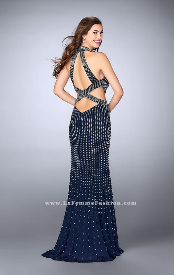 Picture of: Long Beaded Prom Gown with Strappy X Back, Style: 24230, Back Picture