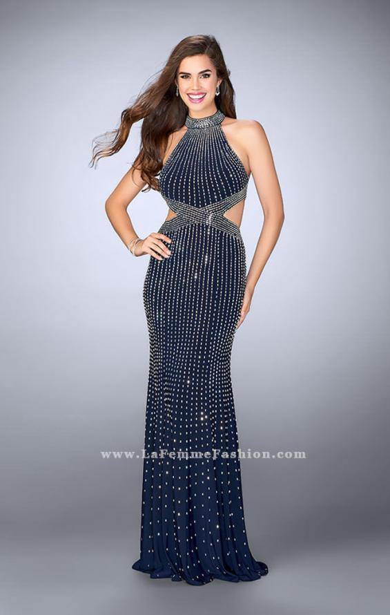 Picture of: Long Beaded Prom Gown with Strappy X Back, Style: 24230, Detail Picture 1