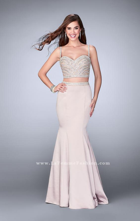 Picture of: Satin Two Piece Dress with Pearls and Rhinestones, Style: 24233, Main Picture