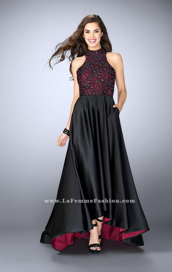 Picture of: High Low Prom Dress with Lace Top and Strappy Back in Black, Style: 24234, Main Picture