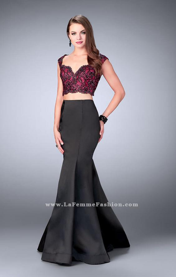 Picture of: Long Two Piece Mermaid Dress with Beaded Lace Top in Black, Style: 24235, Main Picture