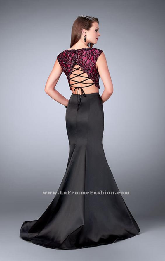 Picture of: Long Two Piece Mermaid Dress with Beaded Lace Top in Black, Style: 24235, Back Picture