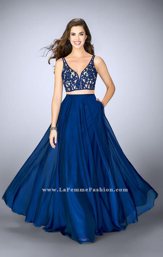 Picture of: Two Piece A-line Dress with Sheer Lace Bustier Top in Blue, Style: 24237, Main Picture