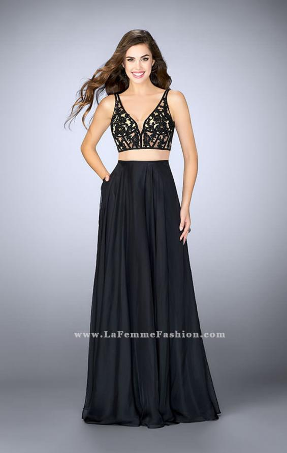 Picture of: Two Piece A-line Dress with Sheer Lace Bustier Top in Black, Style: 24237, Detail Picture 2