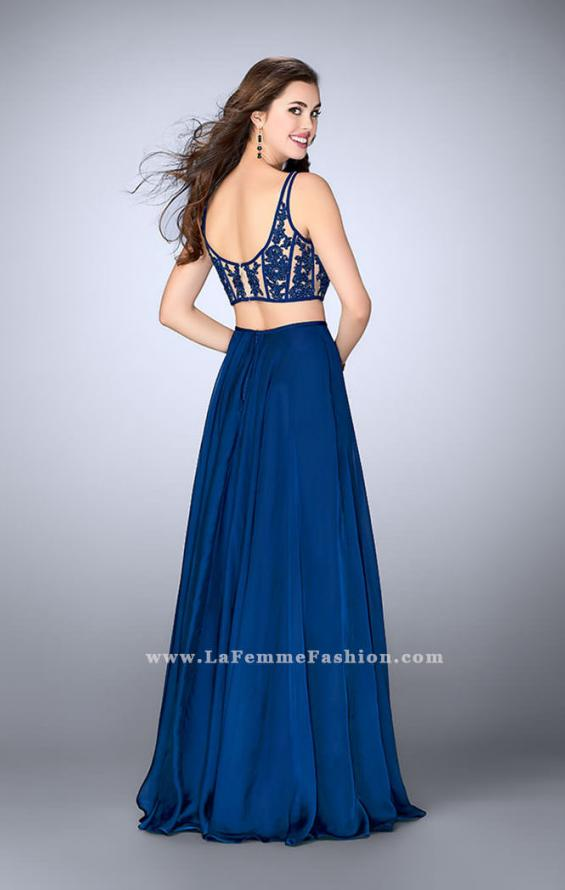 Picture of: Two Piece A-line Dress with Sheer Lace Bustier Top in Blue, Style: 24237, Detail Picture 3