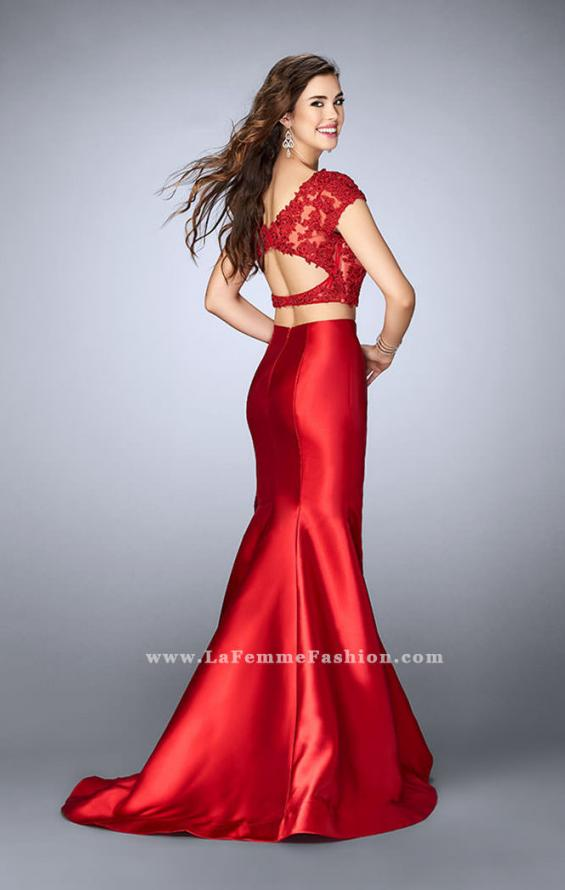 Picture of: Two Piece Mermaid Dress with Lace Top and Cap Sleeves in Red, Style: 24239, Back Picture