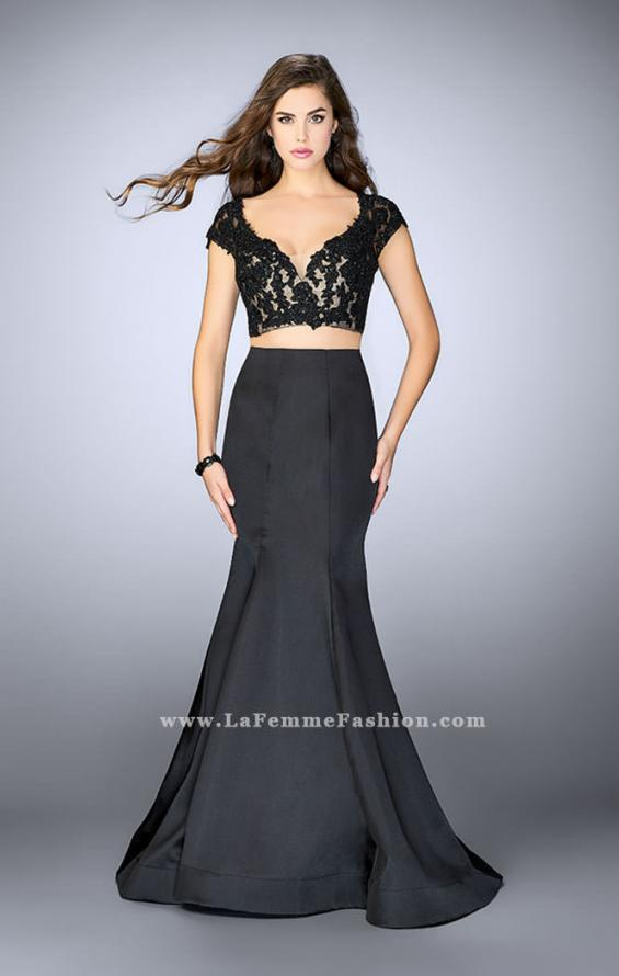 Picture of: Two Piece Mermaid Dress with Lace Top and Cap Sleeves in Black, Style: 24239, Detail Picture 1