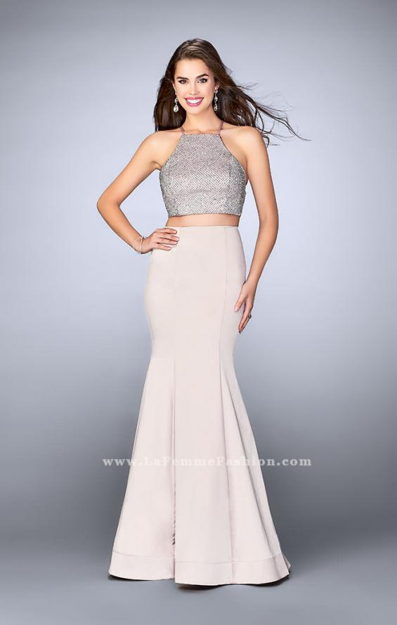 Picture of: Satin Two Piece Gown with Beading and Strappy Back, Style: 24243, Main Picture