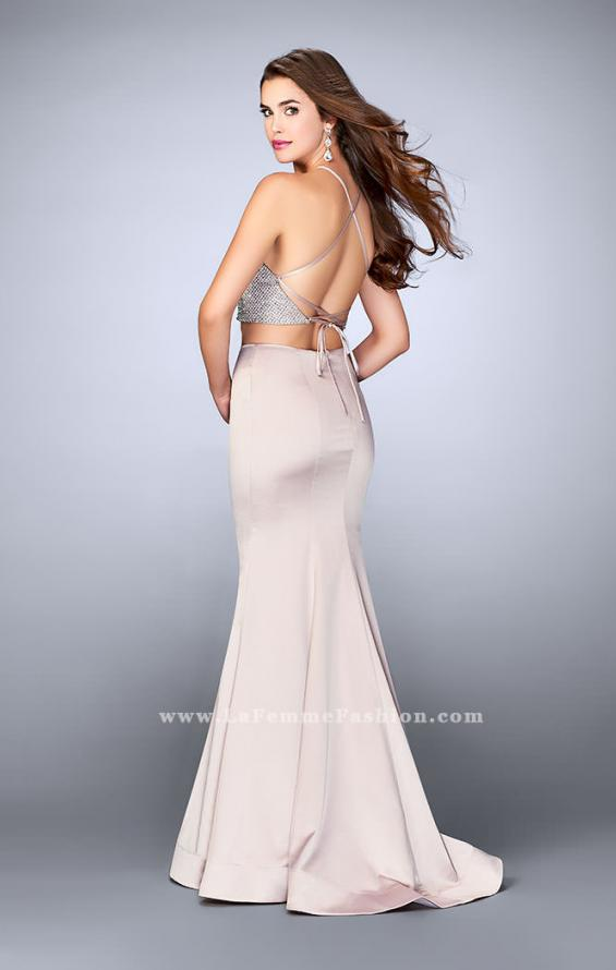 Picture of: Satin Two Piece Gown with Beading and Strappy Back, Style: 24243, Back Picture