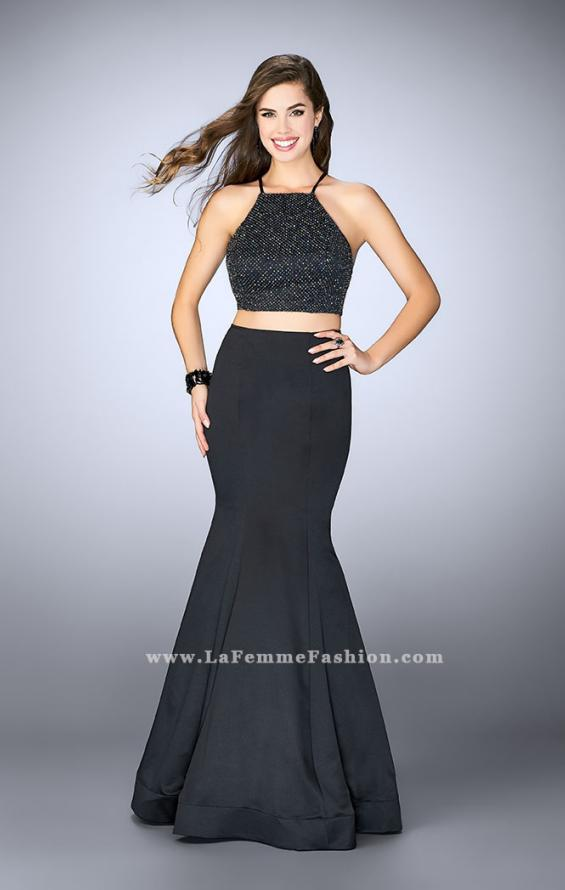 Picture of: Satin Two Piece Gown with Beading and Strappy Back, Style: 24243, Detail Picture 1