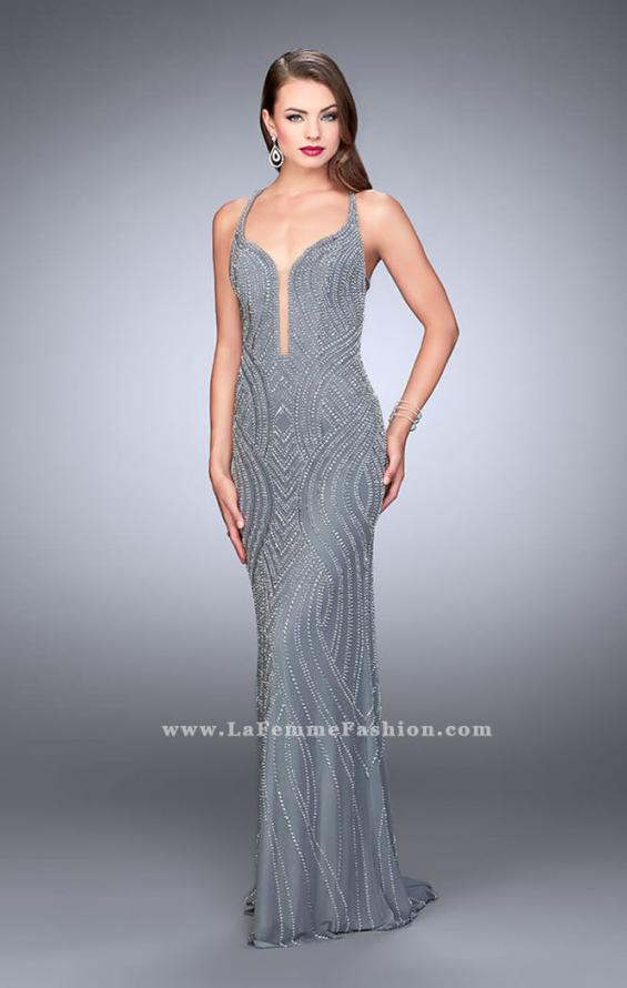 Picture of: Patter Beaded Prom Gown with Open Strappy Back in Silver, Style: 24244, Main Picture