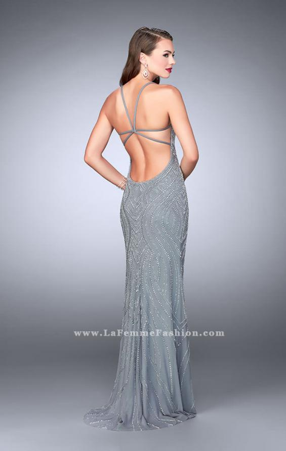 Picture of: Patter Beaded Prom Gown with Open Strappy Back in Silver, Style: 24244, Back Picture