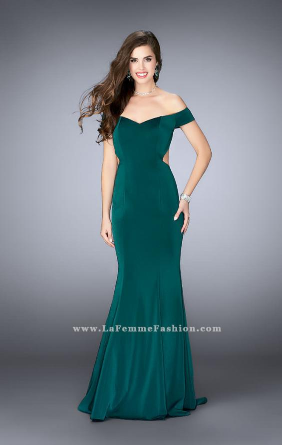 Picture of: Fitted Off the Shoulder Jersey Dress with Open Back in Green, Style: 24250, Main Picture
