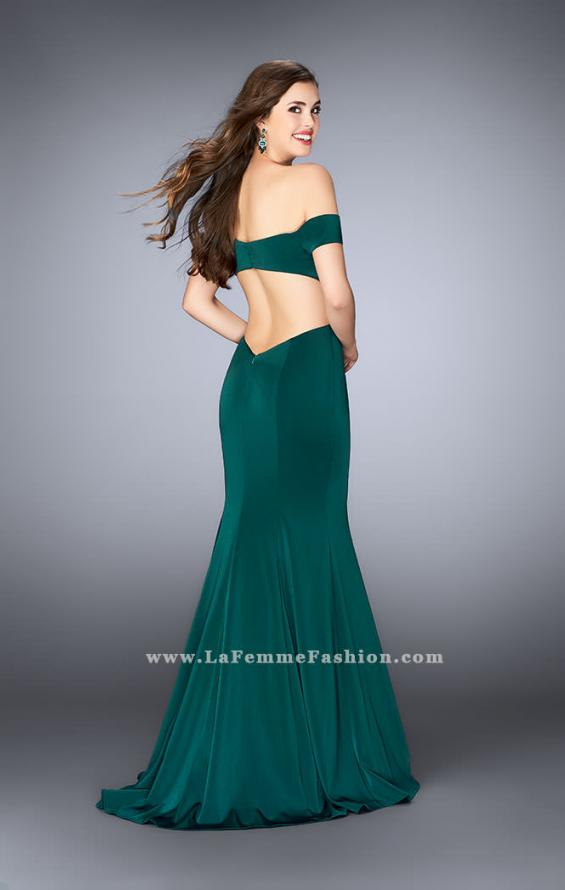 Picture of: Fitted Off the Shoulder Jersey Dress with Open Back in Green, Style: 24250, Back Picture
