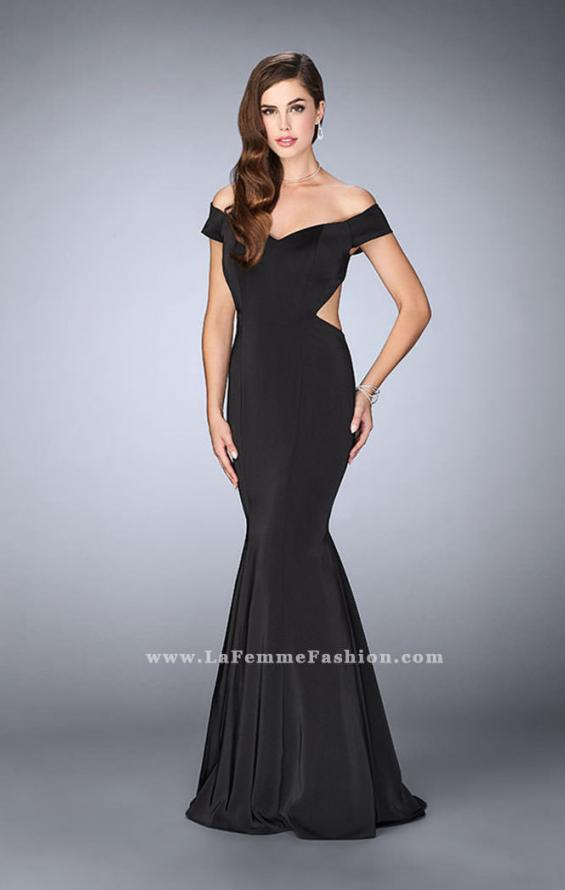 Picture of: Fitted Off the Shoulder Jersey Dress with Open Back in Black, Style: 24250, Detail Picture 1