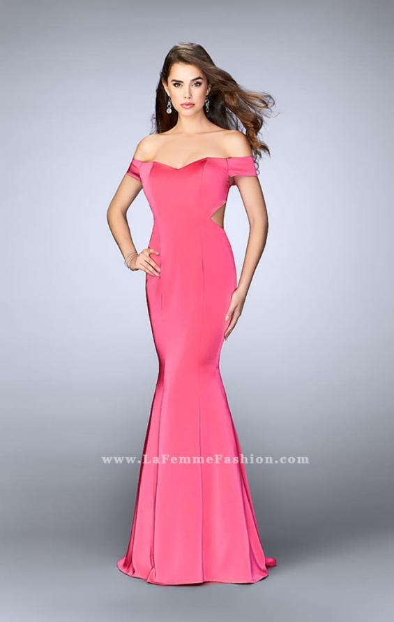 Picture of: Fitted Off the Shoulder Jersey Dress with Open Back in Pink, Style: 24250, Detail Picture 2