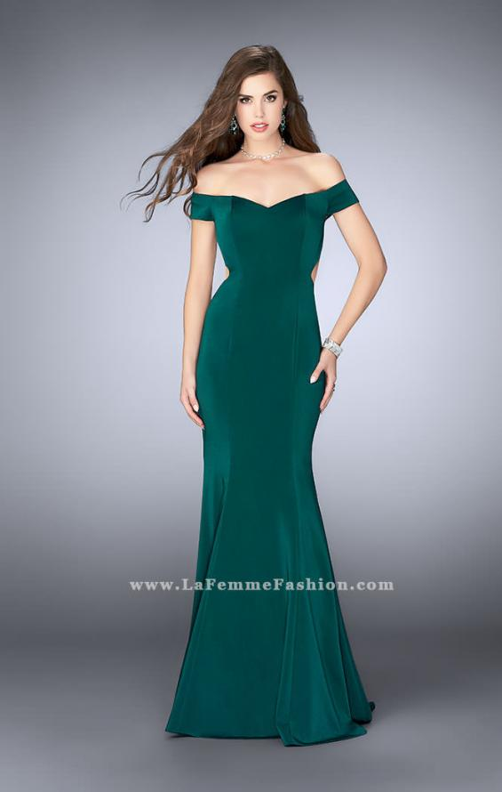 Picture of: Fitted Off the Shoulder Jersey Dress with Open Back in Green, Style: 24250, Detail Picture 3