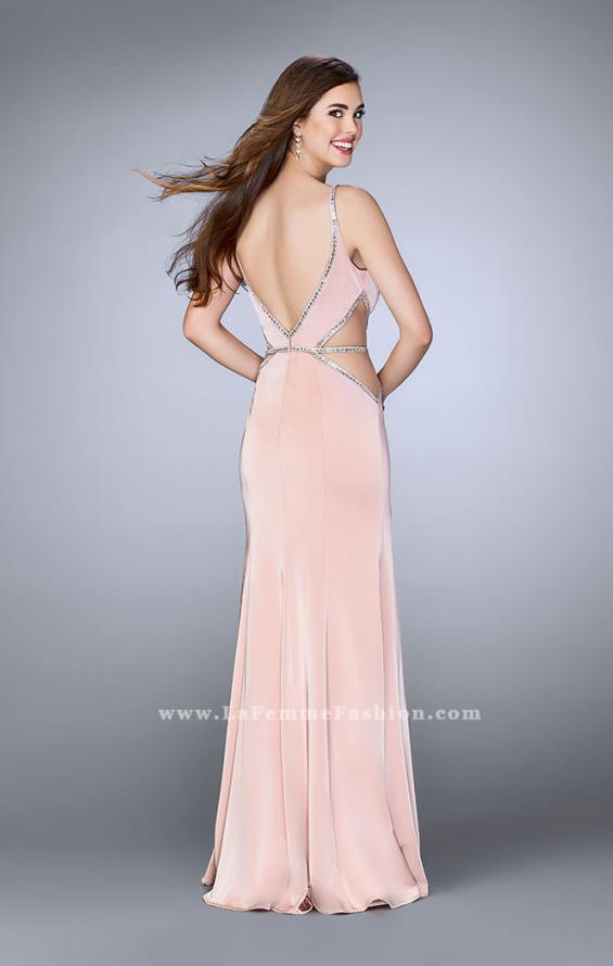 Picture of: Fitted Prom Dress with Slits and Beaded Side Cut Outs in Pink, Style: 24259, Back Picture