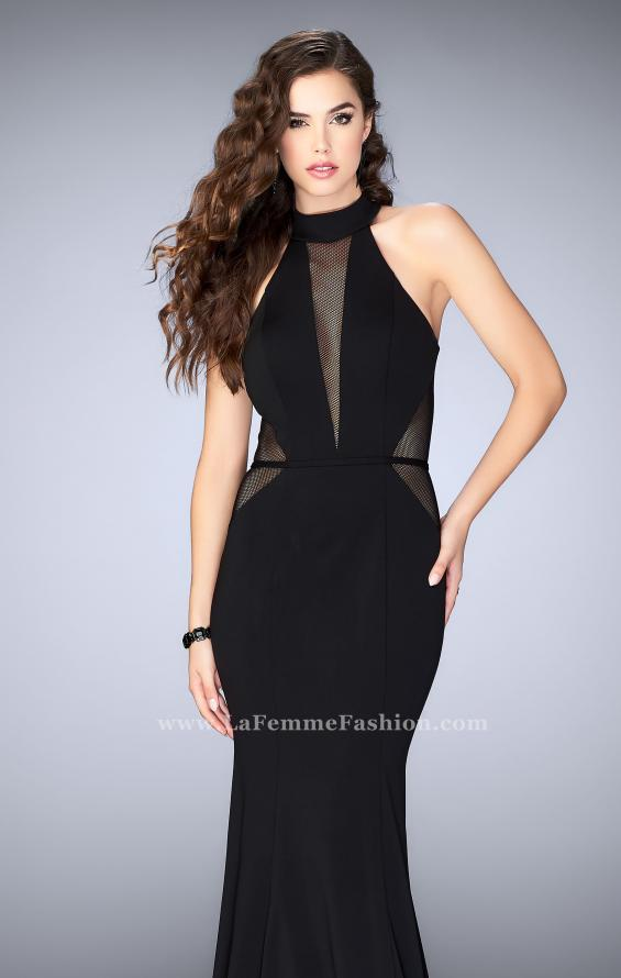 Picture of: Long Jersey Prom Dress with Fishnet Detailing in Black, Style: 24261, Main Picture