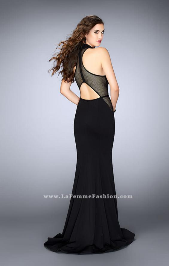 Picture of: Long Jersey Prom Dress with Fishnet Detailing in Black, Style: 24261, Back Picture