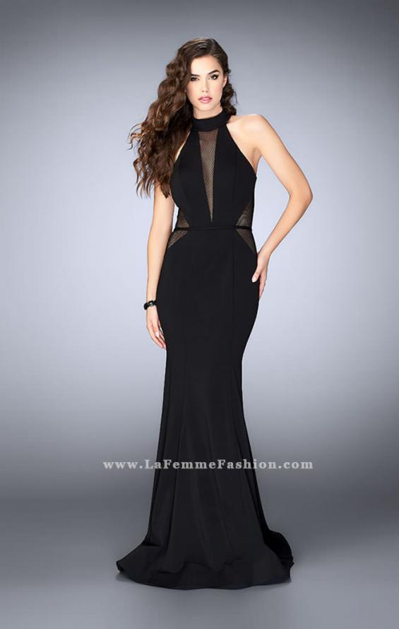 Picture of: Long Jersey Prom Dress with Fishnet Detailing in Black, Style: 24261, Detail Picture 1