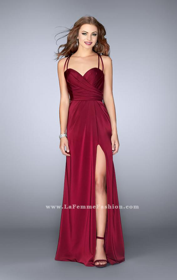 Picture of: Gathered Jersey Prom Dress with Sweetheart Neckline in Red, Style: 24263, Main Picture