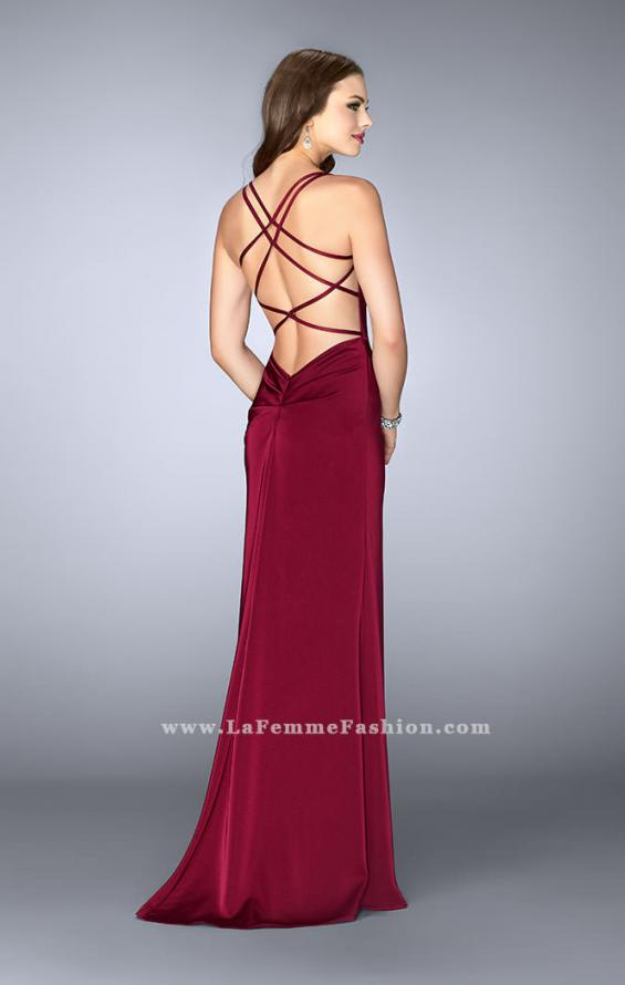 Picture of: Gathered Jersey Prom Dress with Sweetheart Neckline in Red, Style: 24263, Back Picture