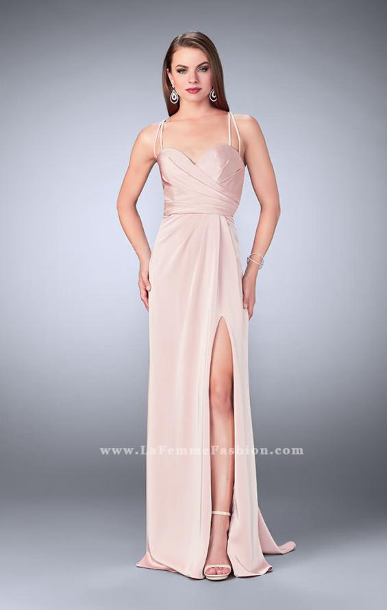 Picture of: Gathered Jersey Prom Dress with Sweetheart Neckline in Pink, Style: 24263, Detail Picture 2