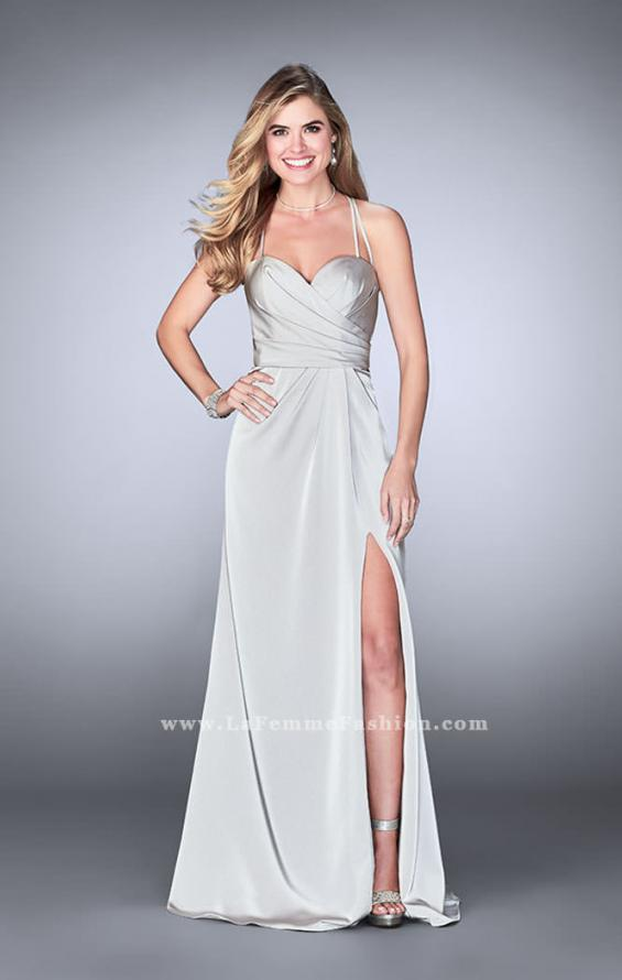 Picture of: Gathered Jersey Prom Dress with Sweetheart Neckline in Silver, Style: 24263, Detail Picture 3
