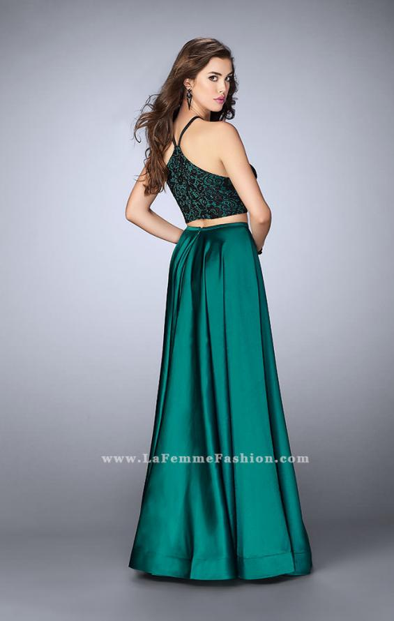Picture of: Two Piece A-line Dress with Satin Skirt and Lace Top, Style: 24264, Back Picture