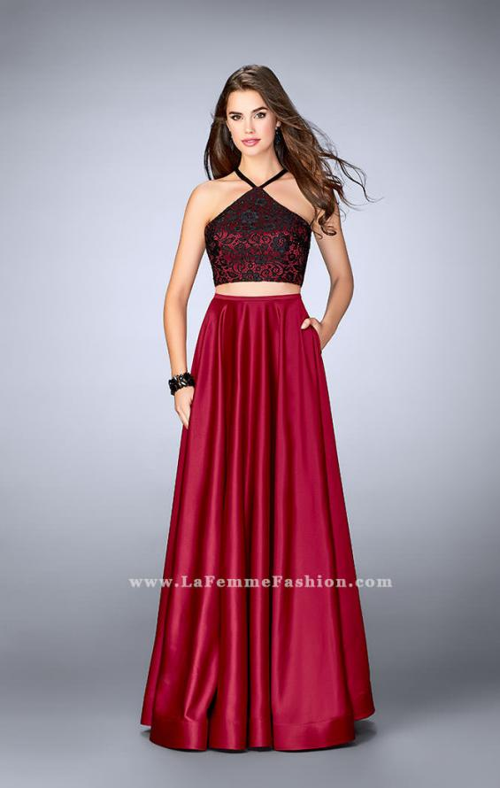 Picture of: Two Piece A-line Dress with Satin Skirt and Lace Top, Style: 24264, Detail Picture 2