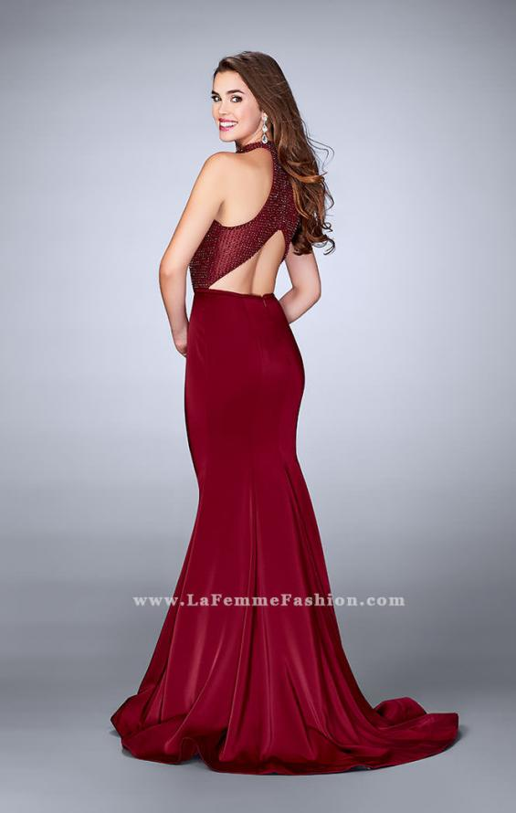 Picture of: Jersey Mermaid Gown with a High Neck Beaded Top in Red, Style: 24266, Back Picture