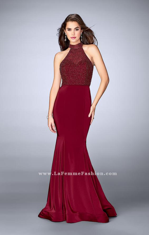 Picture of: Jersey Mermaid Gown with a High Neck Beaded Top in Red, Style: 24266, Detail Picture 1