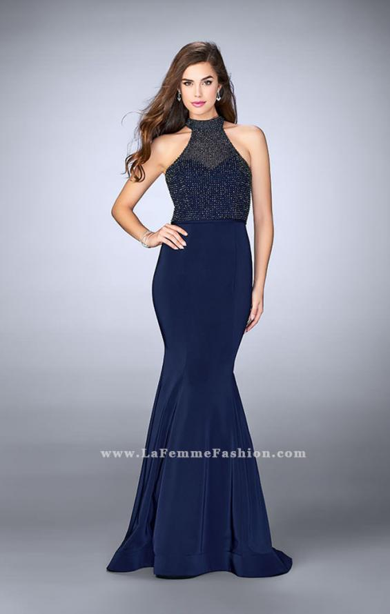 Picture of: Jersey Mermaid Gown with a High Neck Beaded Top in Blue, Style: 24266, Detail Picture 2