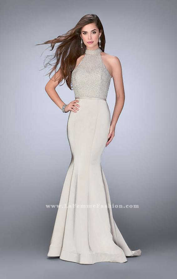 Picture of: Jersey Mermaid Gown with a High Neck Beaded Top in Nude, Style: 24266, Detail Picture 3