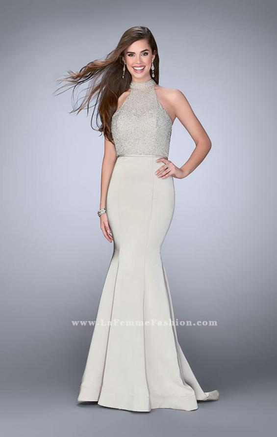 Picture of: Jersey Mermaid Gown with a High Neck Beaded Top in Nude, Style: 24266, Detail Picture 4