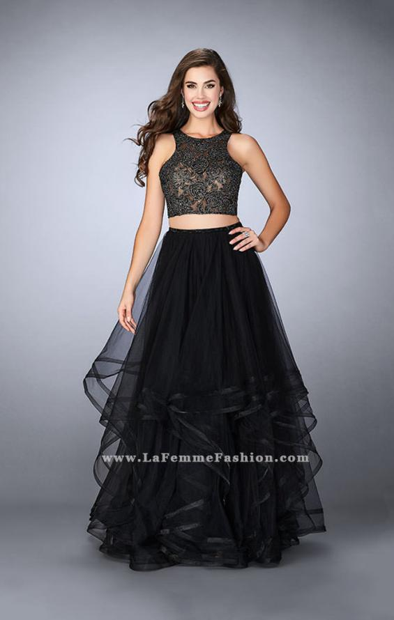 Picture of: Long Two Piece A-line Dress with Tiered Tulle Skirt, Style: 24268, Detail Picture 1