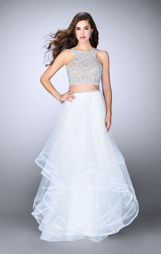 Picture of: Long Two Piece A-line Dress with Tiered Tulle Skirt, Style: 24268, Detail Picture 2