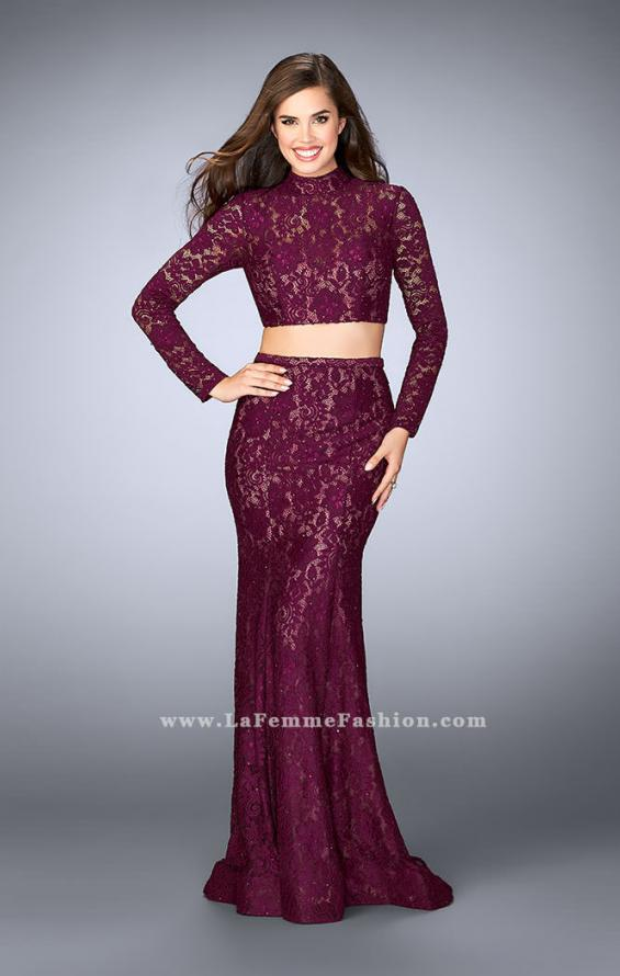 Picture of: Long Sleeve Two Piece Lace Dress with Open Back in Purple, Style: 24272, Main Picture