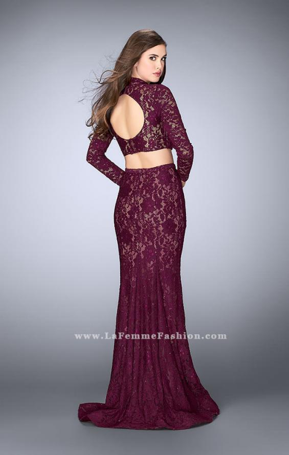 Picture of: Long Sleeve Two Piece Lace Dress with Open Back in Purple, Style: 24272, Back Picture