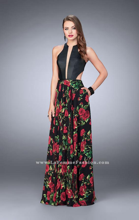 Picture of: Floral A-line Dress with Vegan Leather Top and Pockets in Print, Style: 24273, Main Picture